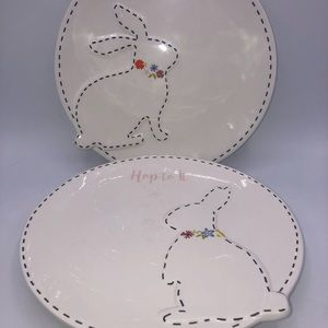 HOPPY DAY & HOP TO IT Spring Bunny Plate Set 2